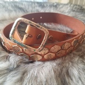 Accessories - Genuine Leather Distressed Belt w/ hexagon studs